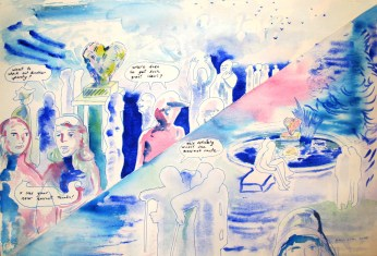 Love, watercolor on paper, 22 by 14.5 in. Emilia Kallock 2015