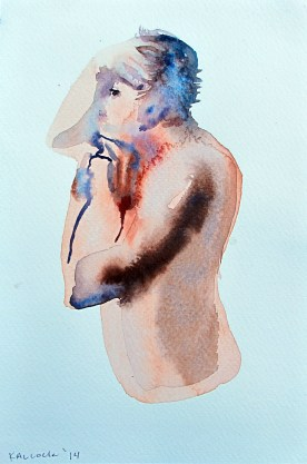 Study of Alex Shaving 2, watercolor on paper, 6 by 4 in. Emilia Kallock 2014
