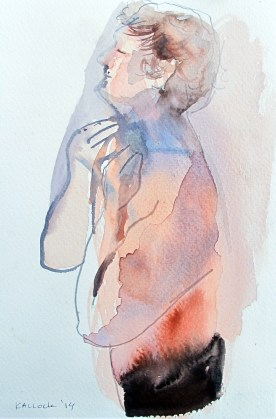 Study of Alex Shaving 3, watercolor on paper, 6 by 3.5 in. Emilia Kallock 2014