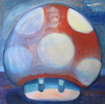 One Up Mushroom 3, acrylic on board, 24 by 24 in. Emilia Kallock 2015