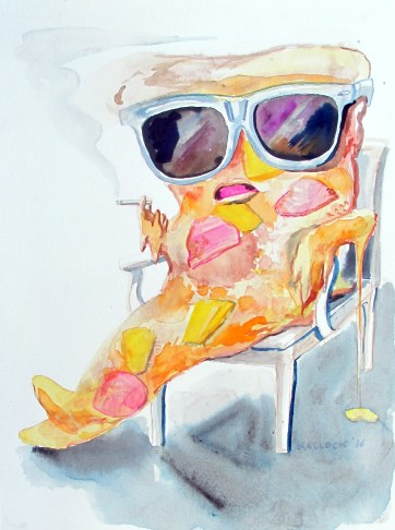Pizza Smoking 2, watercolor on paper, 12 by 10 in. Emilia Kallock 2016