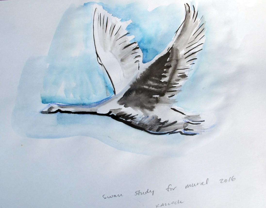Swan 12, watercolor on paper, 8 by 10 in. Emilia Kallock 2016