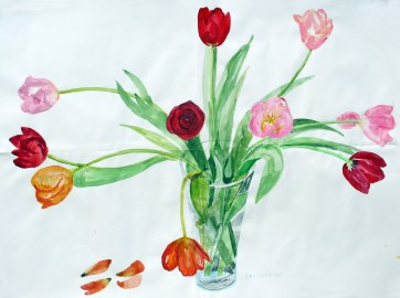 Tulips and One Rose, watercolor on paper, 36 by 48 in. Emilia Kallock 2009