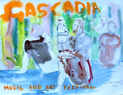 Cascadia Plein Aire 2, watercolor on paper 9 by 11 in. Emilia Kallock 2016