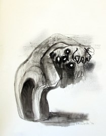 Despair 3, watercolor and charcoal on paper, 8 by 6.5 in. Emilia Kallock 2016