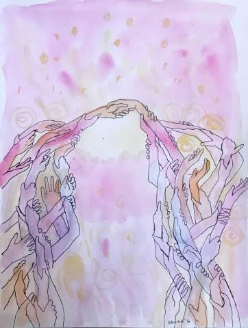 Intention (Hands) watercolor and pen on paper, 10 by 8 in. Emilia Kallock 2016