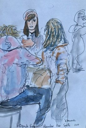 Frenchface At Revolver Bar, watercolor on paper, 7 by 6 in. Emilia Kallock 2017