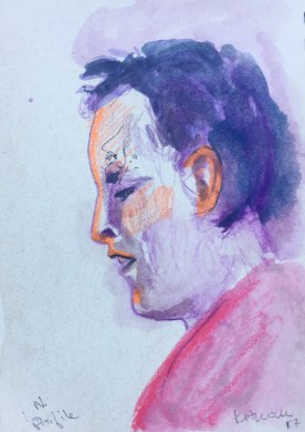 Profile Study of N. watercolor on paper, 5 by 4 in. Emilia Kallock 2017