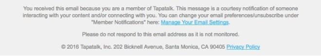 screenshot del link nella mia email