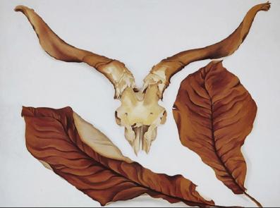 Ram Skull with Brown Leaves