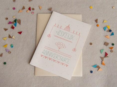 confettis, carte, message, fête, anniversaire, enveloppe, papeterie, illustration, graphique