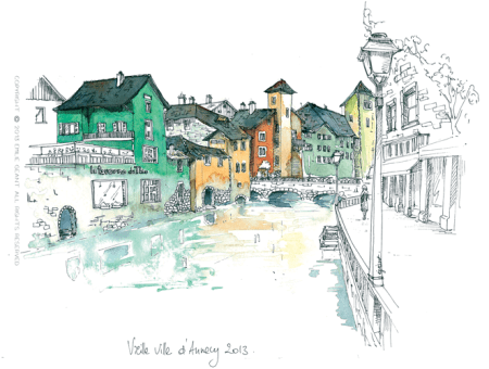 Annecy Ink la vieille ville d'annecy – ink and watercolor on paper – original