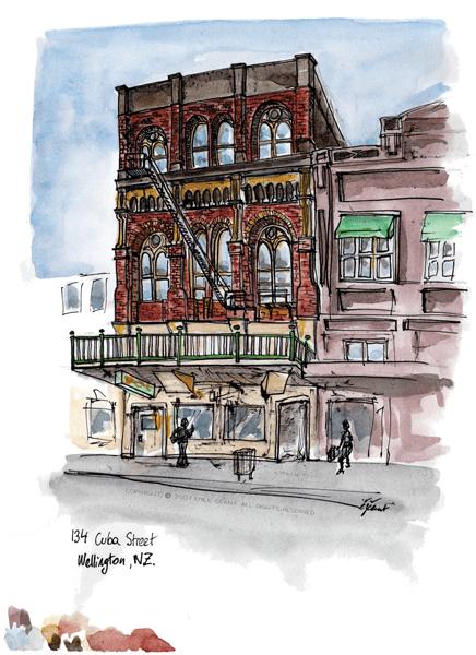 cuba street, weelington, watercolor, ink, Emilie Geant, illustration, sketch, new zealand