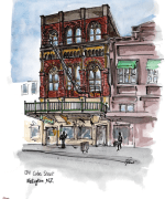 cuba street, weelington, watercolor, ink, Emilie Geant, illustration, sketch, new zealand