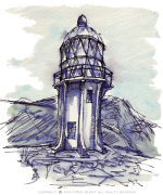 cape reinga, ink, lighthouse, Emilie Geant, illustration, sketch, new zealand