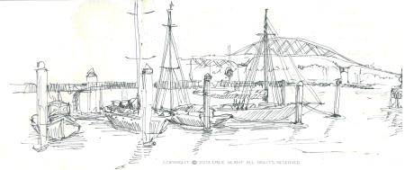 auckland, port, boat, bridge, Emilie Geant, illustration, sketch, new zealand