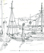 auckland, port, boat, bridge, Emilie Geant, illustration, sketch, new zealand