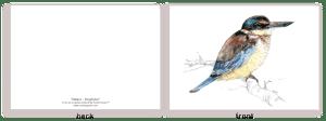 kingfisher, kotare, bird, painting, watercolor, New Zealand, native, art, print, poster, feather