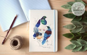 journal, tui, kereru, wood pigeon, fantail, kiwiana, notebook, hard cover, watercolor, ink, illustration, painting