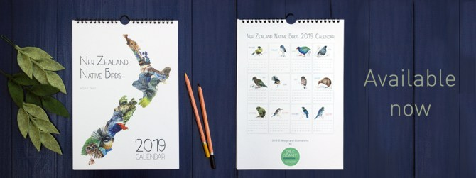 New Zealand, Birds, native birds, kiwi, kiwiana, calendar, 2019, wall calendar, Emilie Geant, watercolor, painting, Artwork, illustrated, wild life, illustration, Aotearoa, tui, fantail, kakapo, kereru, ruru, owl, maori, Palmerston North, outdoor, nature, kea, tomtit, robin