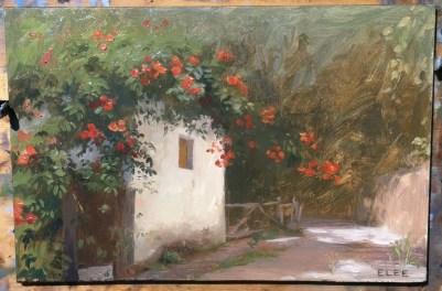 "Pelion Village Scene, 6""x9"" oil on panel"