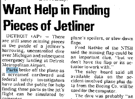headline looking for missing parts