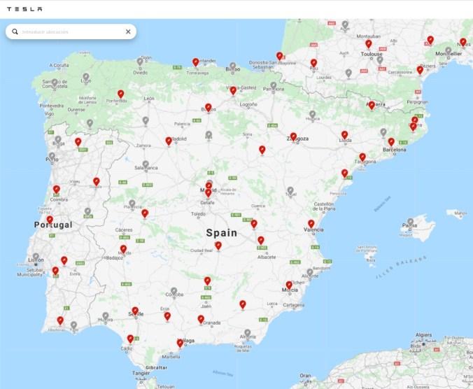 Mapa Supercharger de Tesla en España. Actualizado a 29 de abril de 2020. En rojo los activos. En gris las próximas aperturas.