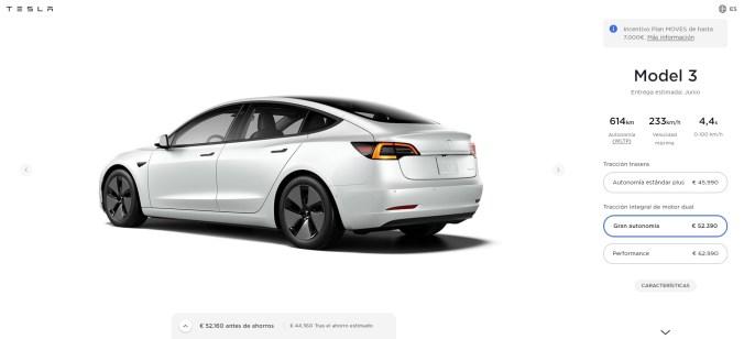 Configurador Tesla Model 3 Gran Autonomía actualizado a 24-05-2021
