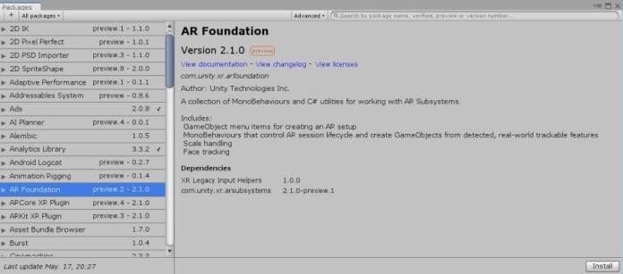 AR foundation 2.1 realidad aumentada