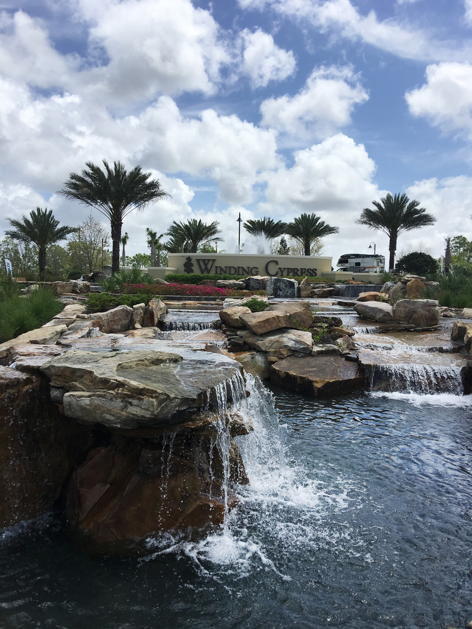 Winding Cypress Naples FL garden entrance and water feature designed and built by Emil Kreye and Son, Inc