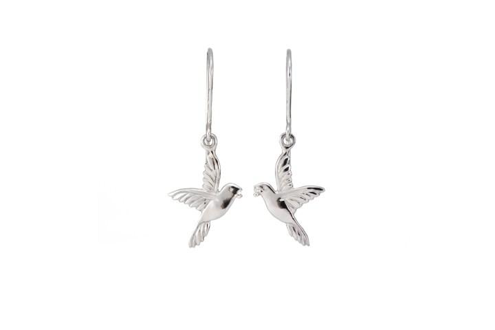 Lintukorvakorut palladiumia timantilla