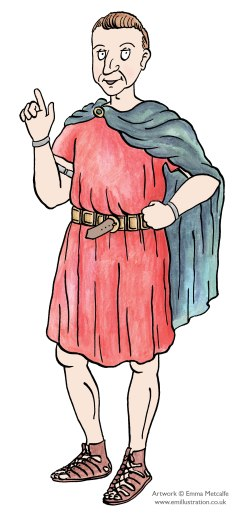 Illustration of retired Roman soldier/wealthy man wearing red tunic and sandals