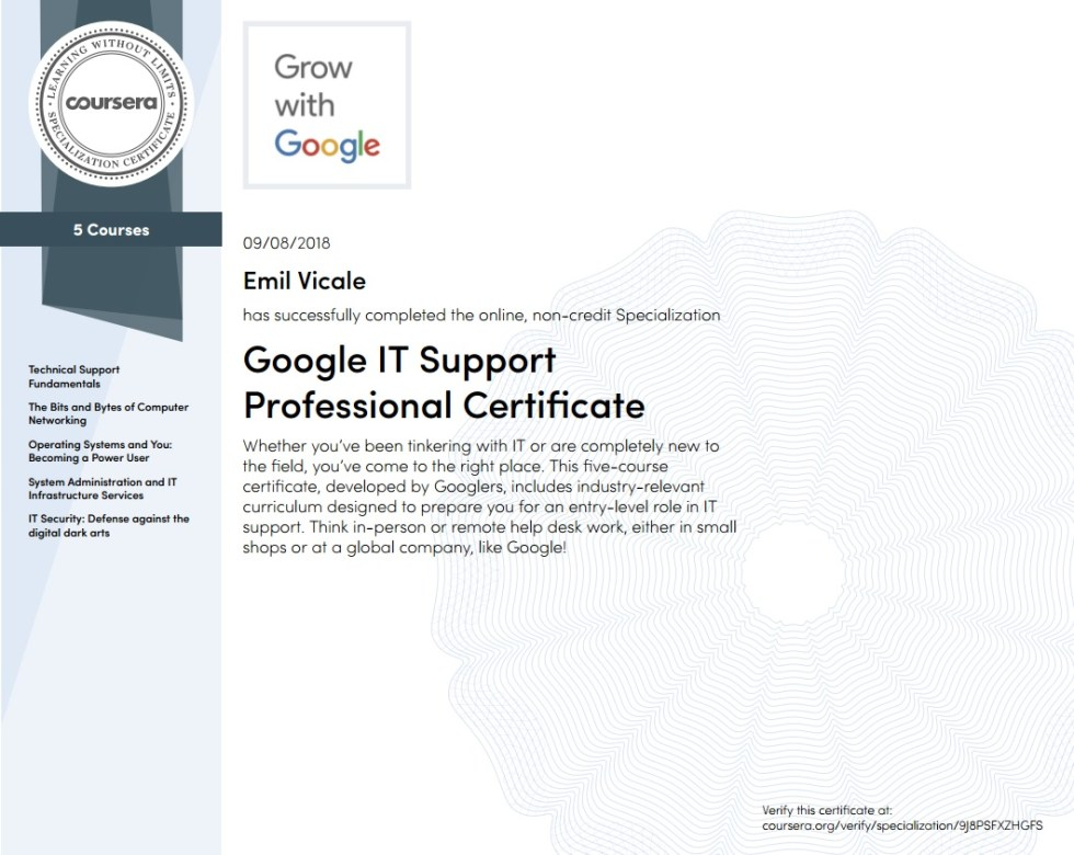 Grow With Google IT Support Professional Certificate