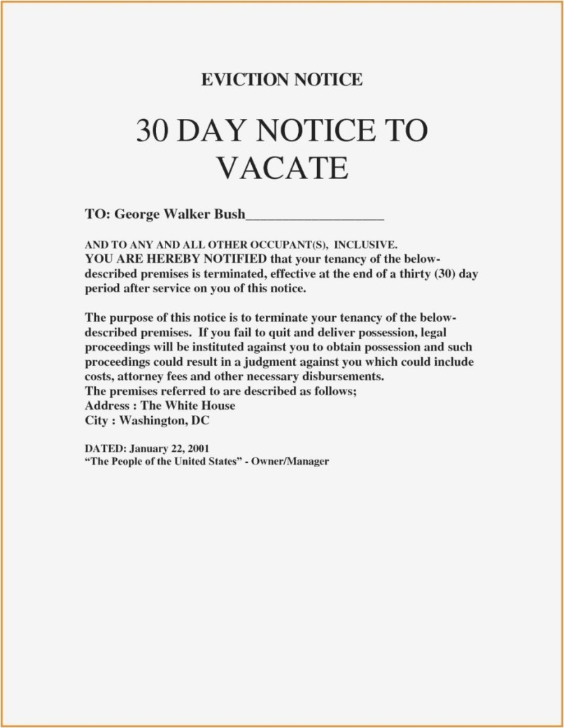 30 Day Notice To Vacate Letter Tenant Template Collection
