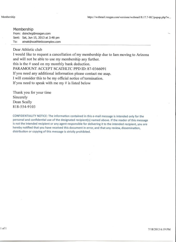 Cancellation Letter For Gym Membership Example | Gymtutor co
