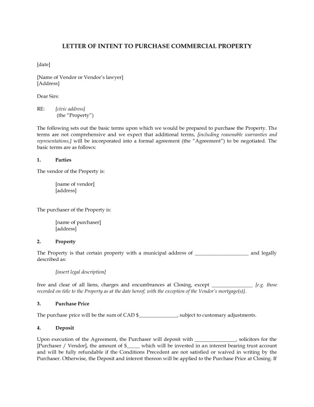 sample letter of intent to purchase commercial property thedoctsite co