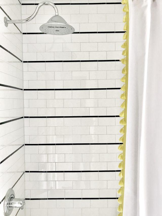 kids bathroom renovation subway tile