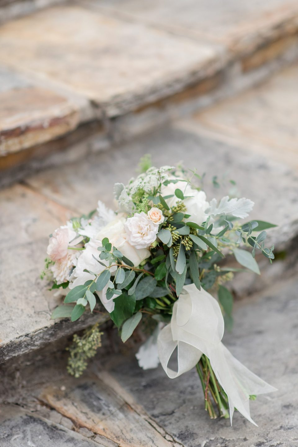 elegant fall wedding bouquet cream ribbon rust manor