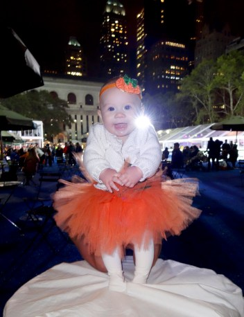 Our little pumpkin in Bryant Park