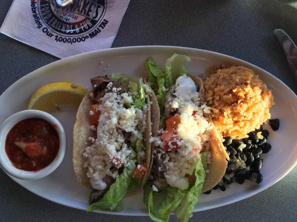 Fish Tacos at Brennecke's in Poipu, HI