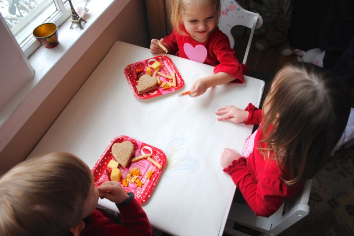 Toddler Valentine's Day craft table