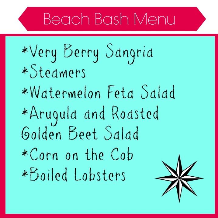 Beach Bash Menu