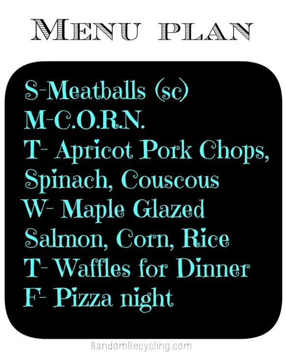 Meal Plan Jan 20 via Random Recycling