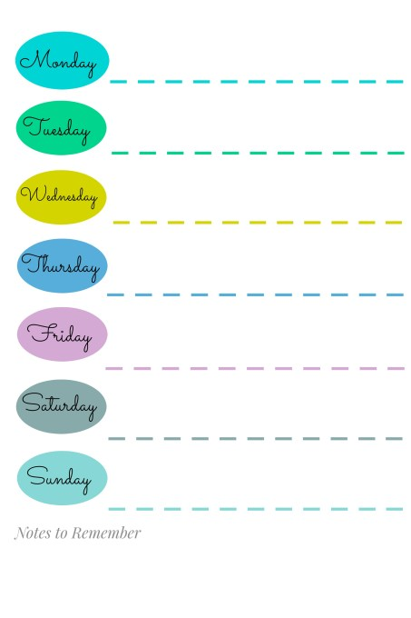 Cute weekly calendar printable