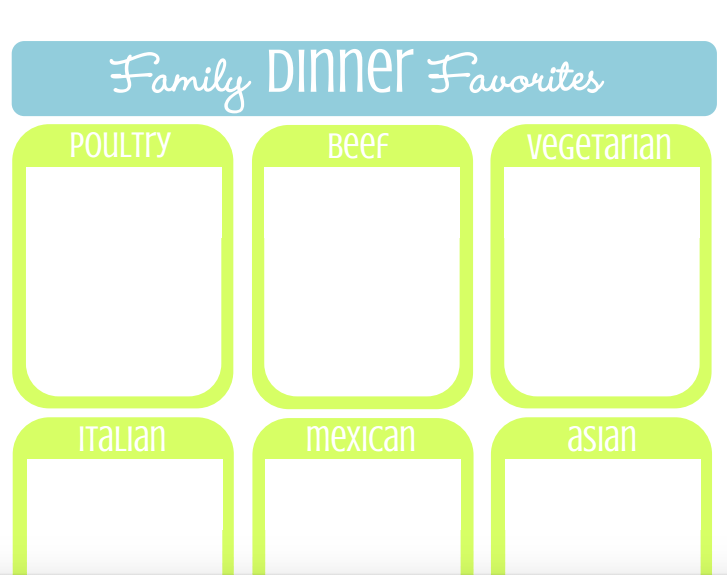 Family Dinner Favorite List