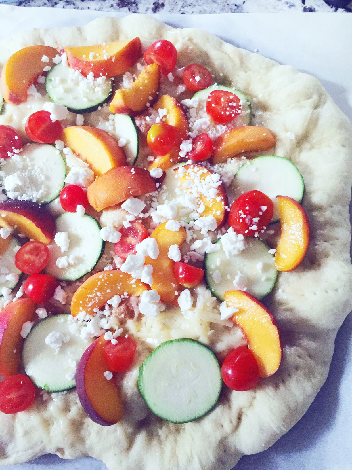 Our peach and zucchini summer pizza.