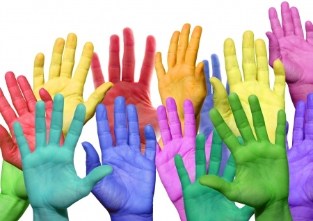 18978178 - many colorful hands waving and symbolicind diversity