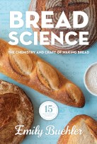 cover of the book Bread Science with multiple breads on it and a badge reading 15th anniversary edition