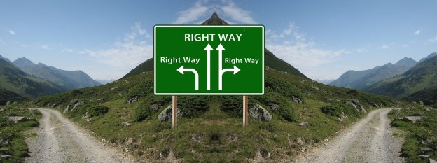"""road sign on road that splits with four arrows, all pointing to """"Right way"""""""