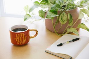 """writing pad and pen on table with plant, with mug of coffee that reads """"Go get 'em"""""""